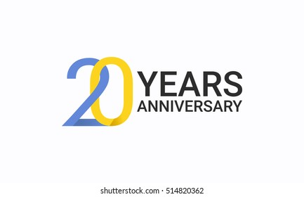 20 Years Anniversary, Birthday Symbols and Signs using  Flat and Simple Vector Design. Template Logo Celebration Isolated on White Background