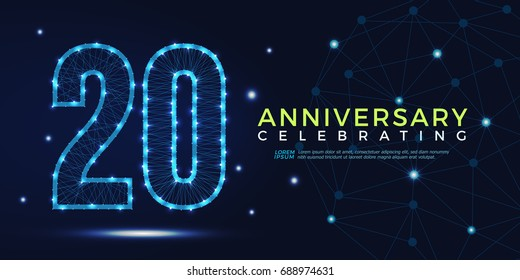 20 years anniversary celebrating numbers vector abstract polygonal silhouette. 20th anniversary concept. technology numbers vector illustration