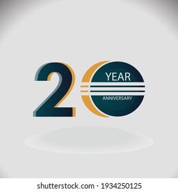 20 Years Anniversary Celebration Blue Color Vector Template Design Illustration