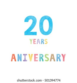 20 years anniversary celebration card with colorful watercolor text on white background.