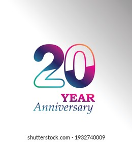 20 Years Anniversary Celebration Color Vector Template Design Illustration