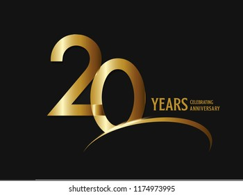 20 years anniversary celebration design. anniversary logo with swoosh and golden color isolated on black background, vector design for greeting card and invitation card.
