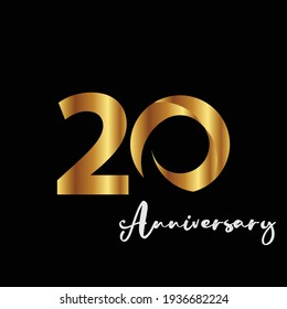 20 Years Anniversary Celebration Gold Black Background Color Vector Template Design Illustration