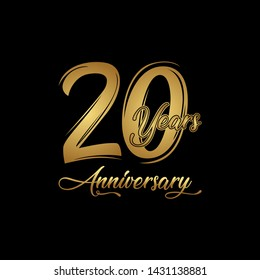 20 years Anniversary Celebration with golden text on dark background, vector template.