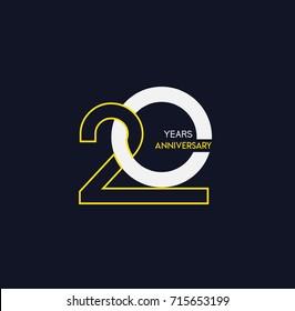 20 years anniversary celebration linked number logo, isolated on dark background
