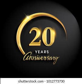 20 years anniversary celebration. Anniversary logo with ring and elegance golden color isolated on black background, vector design for celebration, invitation card, and greeting card