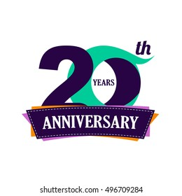 20 years anniversary celebration logo design with decorative ribbon or banner. Happy birthday design of 20th years anniversary celebration. Number 20 template logo with banner / ribbon. 20 years old.