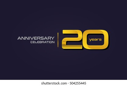 20 Years Anniversary Celebration Logo, Yellow, Isolated on Dark Purple Background