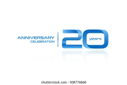 20 years anniversary celebration logo, blue, isolated on white background