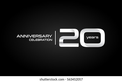 20 Years Anniversary Celebration Logo, White , Isolated on Dark  Background
