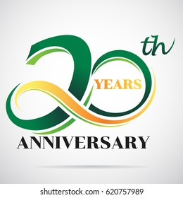 20 years anniversary celebration logo design with decorative ribbon or banner. Happy birthday design of 20th years anniversary celebration.
