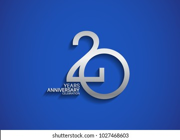 20 years anniversary celebration logotype with silver color isolated on blue background