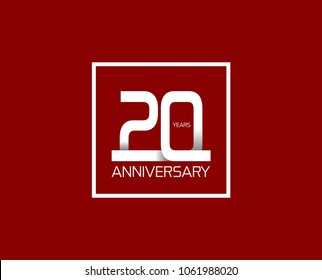 20 years anniversary celebration logotype. anniversary logo with white line color and square isolated on red background, vector design for celebration, invitation card, and greeting card