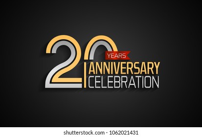 20 years anniversary celebration logotype. anniversary logo with golden and silver color and red ribbon isolated on black background, vector design for celebration, invitation card, and greeting card