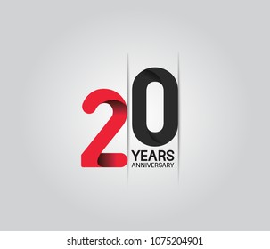 20 years anniversary celebration logotype. anniversary logo with red and black color isolated on white background, vector design for celebration, invitation card, and greeting card