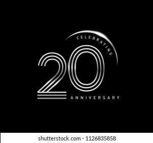 20 years anniversary celebration logotype with line number style silver color isolated on black color. vector anniversary for celebration, invitation card, and greeting card