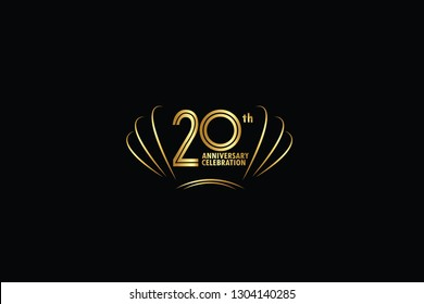 20 years anniversary celebration logotype. anniversary logo with golden and Spark light white color isolated on black background, vector design for celebration, invitation card, greeting card-Vector