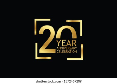 20 years anniversary celebration logotype. anniversary logo with golden  color isolated on black background, vector design for celebration, invitation and greeting card-Vector