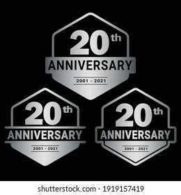 20 years anniversary celebration logotype. 20th anniversary logo collection. Set of anniversary design template. Vector and illustration.