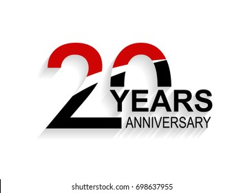 20 years anniversary celebration logotype. anniversary logo with red, white and black color isolated on white background, vector design for celebration, invitation card, and greeting card
