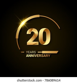 20 Years Anniversary Celebration Logotype. Golden Elegant Vector Illustration with Half Circle, Isolated on Black Background can be use for Celebration, Invitation, and Greeting card