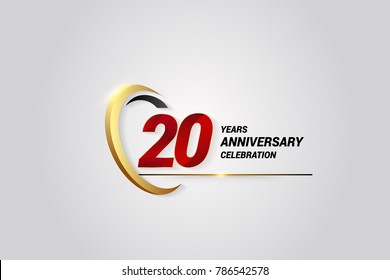 20 Years Anniversary Celebration Logotype. Red Elegant Vector Illustration with Gold Swoosh, Isolated on Black Background can be use for Celebration, Invitation, and Greeting card