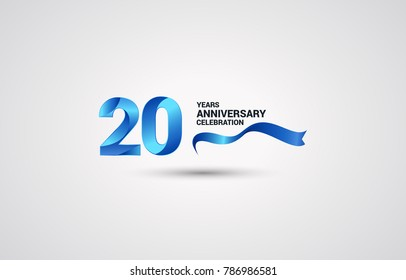 20 Years Anniversary celebration logotype colored with shiny blue, using ribbon and isolated on white background