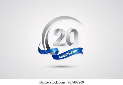 20 Years Anniversary Celebration Logotype. Silver Elegant Vector Illustration  with Swoosh,  Isolated on white Background can be use for Celebration, Invitation, and Greeting card