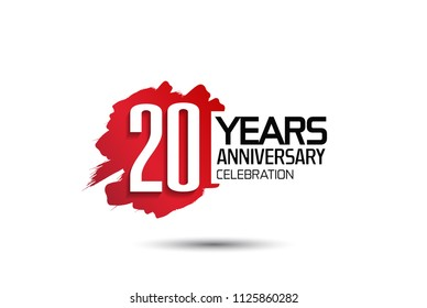 20 years anniversary celebration with red brush design isolated on white background for celebrating event