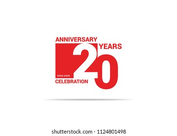 20 Years Anniversary celebration simple red design logo type. silhouette number inside white box vector illustration.