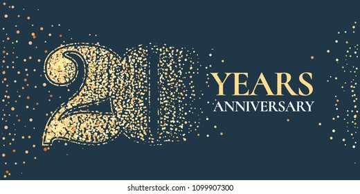 20 years anniversary celebration vector icon, logo. Template horizontal design element with golden glitter stamp for 20th anniversary greeting card