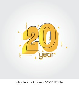 20 years anniversary celebration Yellow Colors Comical Design logotype. anniversary logo isolated on White background, vector Horizontal number design for celebration -vector