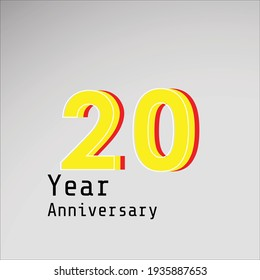 20 Years Anniversary Celebration Yellow Color Vector Template Design Illustration