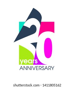 20 years anniversary colored logo isolated on a white background for the celebration of the company. Vector Illustration Design Template