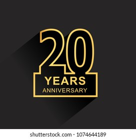 20 years anniversary design line style with square golden color for anniversary celebration event. isolated with black background