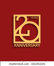 20 years anniversary design logotype golden color in square isolated on red background for celebration event
