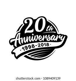20 years anniversary design template. Vector and illustration. 20th logo.