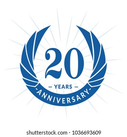 20 years anniversary. Elegant anniversary design. 20 years logo.