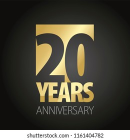 20 Years Anniversary gold black logo icon banner