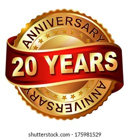 20 years anniversary golden  label with ribbon.  Vector illustration.
