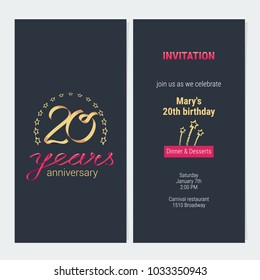 20 years anniversary invitation to celebration vector illustration. Graphic design element with elegant background for 20th birthday card, party invite