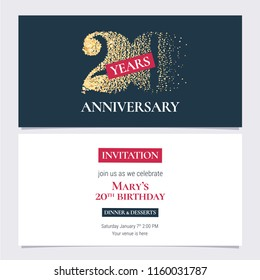 20 years anniversary invitation vector illustration. Design template with golden number for 20th anniversary party or dinner invite with body copy