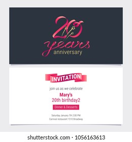 20 years anniversary invite vector illustration. Graphic design element for 20th birthday card, party invitation