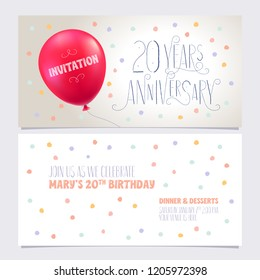 20 years anniversary invite vector illustration. Graphic design element with air balloon for 20th birthday card, party invitation