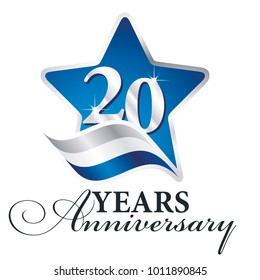 20 years anniversary isolated blue star flag logo icon