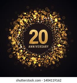 20 years anniversary isolated vector design element. Twenty birthday logo with blurred light effect on dark background