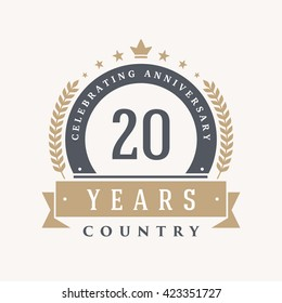 20 years Anniversary Label, Sticker or Badge on Background. Vector - illustration
