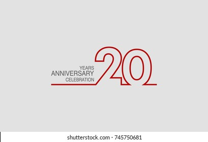 20 years anniversary linked logotype with red color isolated on white background for company celebration event