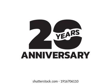 20 years anniversary logo. 20th birthday icon or badge design. Vector illustration.