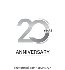20 Years Anniversary  Logo Celebration, Silver Flat Design